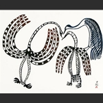Talk of Birds - Original Print by Lucy Qinnuayuak - Stonecut 1967/2004