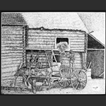Bull-Drawn Wagon, China Ink by Marc Tremblay