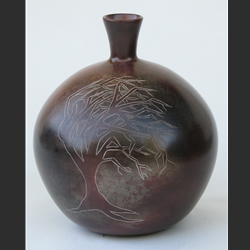 Vase with Windblown Tree